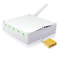 Modem internet et son antenne wifi fracturée (reflet)