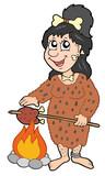 Cartoon prehistoric woman poster