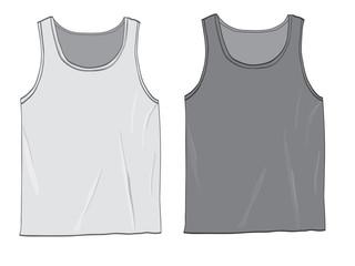 Realistic pair of mens Tank tops