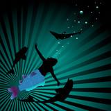 Mermaid between dolphins poster