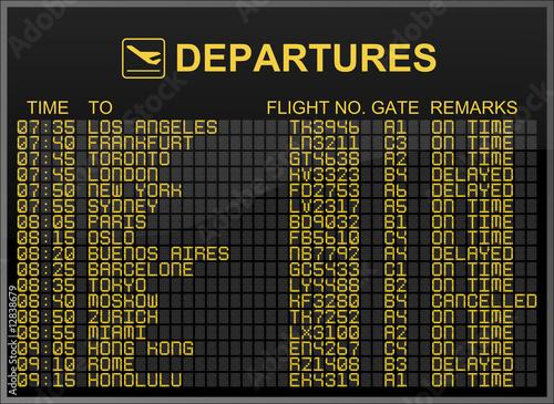 Contoh papan informasi keberangkatan dengan nomor gate