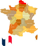 France and its areas. Separate and use any areas as you wish. poster