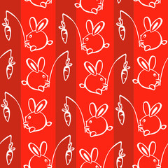 Seamless Rabbits with Carrots Illustration