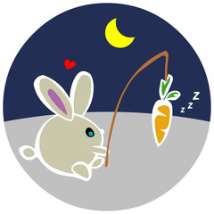 Bunny with a carrot at Night