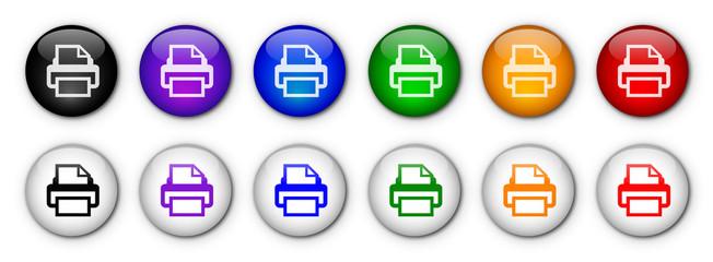 """Printer"" Buttons (x12) (rainbow colours)"