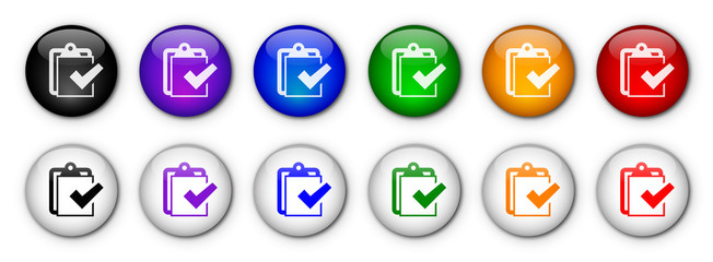 """ Checklist "" Buttons (x12) (rainbow colours)"
