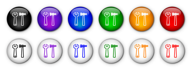 """Tools"" Buttons (x12 - rainbow colours)"