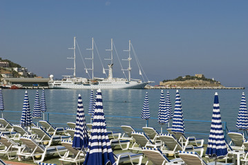 Cruise ship at harbor, Kusadasi Turkey.