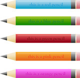 Vector set of different pencils with funny descriptions poster