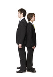 Two men compare length poster