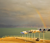 Magnificent rainbow  on the Dead Sea poster