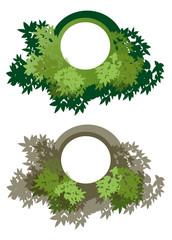 Etiquettes feuillages verts sur fond blanc