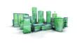 Ville verte écologique 3D macro fond blanc