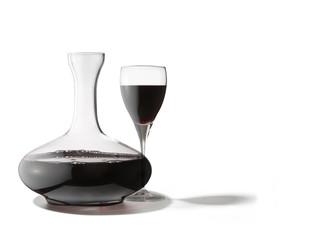decanter con bicchiere di vino