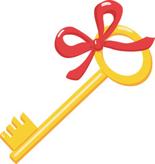 Gold key with a red bow