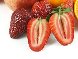 Strawberries, halved.