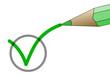 Stift zeichnet einen Haken