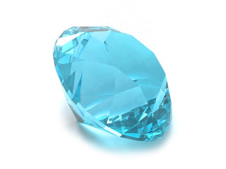 Sky blue topaz gemstone isolated on white background