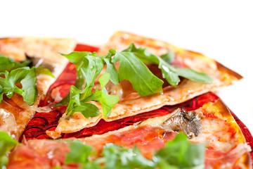 sliced tasty pizza.