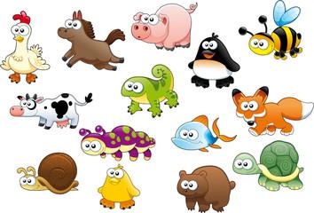 Cartoon animals and pets