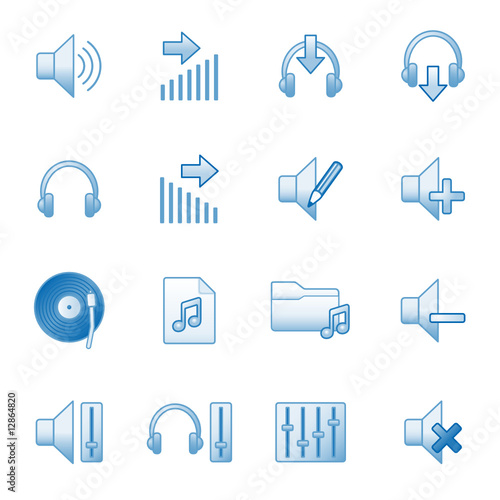 Sound web icons, blue series