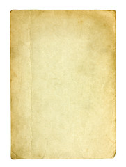 Old and dirty sheet of paper with clipping path