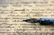 canvas print picture - Ancient letter and pen