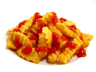 French Fries with Ketchup on White Background