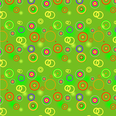 Bright green background with color spots, circles and rings