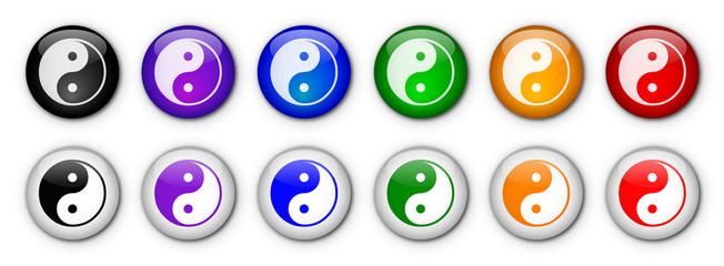 "Boutons ""Ying & Yang! ( x12 - multicolores)"