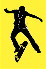 Skateboarder and MP3 player silhouette