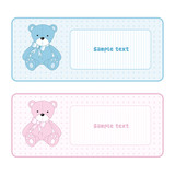 Teddy bear for baby - baby arrival announcement poster