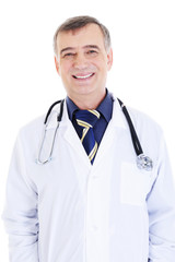 portrait of happy cheerful successful male doctor