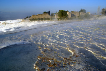 Water and travertine