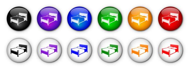 """Boutons """"Hôtel"""" (x12 - multicolores)"""