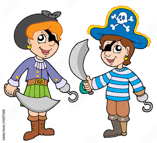 Fotobehang Piraten Pirate boy and girl