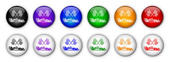 """Boutons """"Formule 1"""" (x12 - multicolores)"""