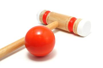 Orange Croquet Mallet and Ball