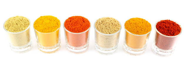 rows of colorful spices