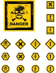 the vector danger grunge buttons