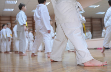 karate boys in sport hall