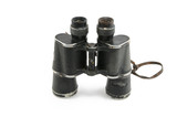 The old Black Binoculars on a white background