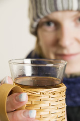 woman with tea glass