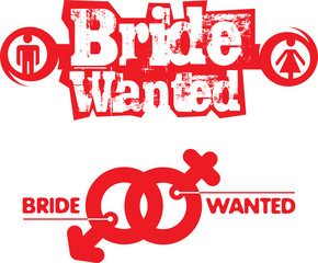 Bride Wanted illustration with wedding symbol