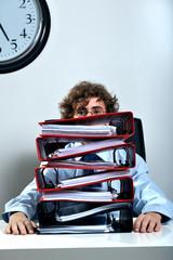 Businessman and folders