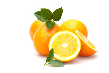 fresh oranges on white