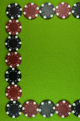 Poker red and black chips frame