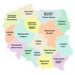 Polen - Woiwodschaften mit Namen auf Polnisch und Deutsch