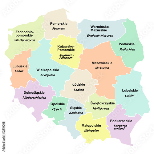 polen woiwodschaften mit namen auf polnisch und deutsch. Black Bedroom Furniture Sets. Home Design Ideas