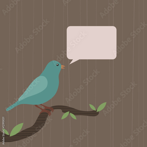 blue bird with speech bubble